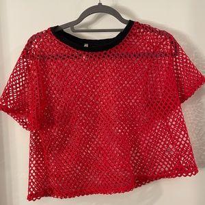 Emma + Sam red fish-net shirt